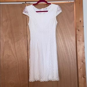 White Lace Cuffed Sleeve Dress
